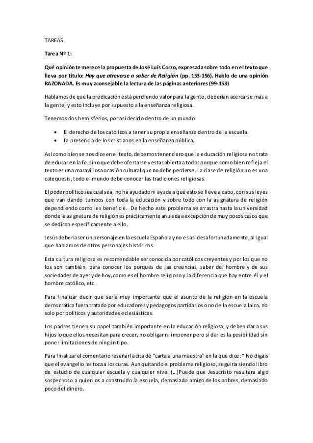 TAREAS:  Tarea Nº 1:  Qué opinión te merece la propuesta de José Luis Corzo, expresada sobre todo en el texto que  lleva p...