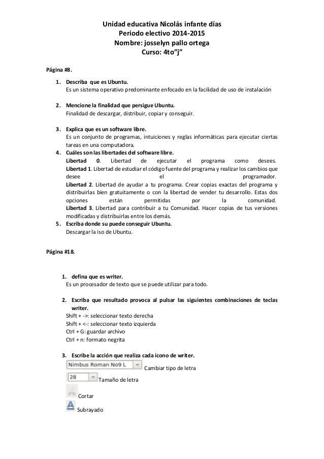 """Unidad educativa Nicolás infante días Periodo electivo 2014-2015 Nombre: josselyn pallo ortega Curso: 4to""""j"""" Página #8. 1...."""