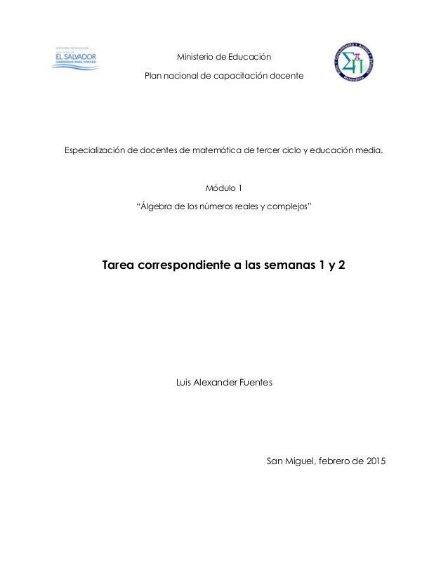 Ministerio de Educación Plan nacional de capacitación docente Especialización de docentes de matemática de tercer ciclo y ...