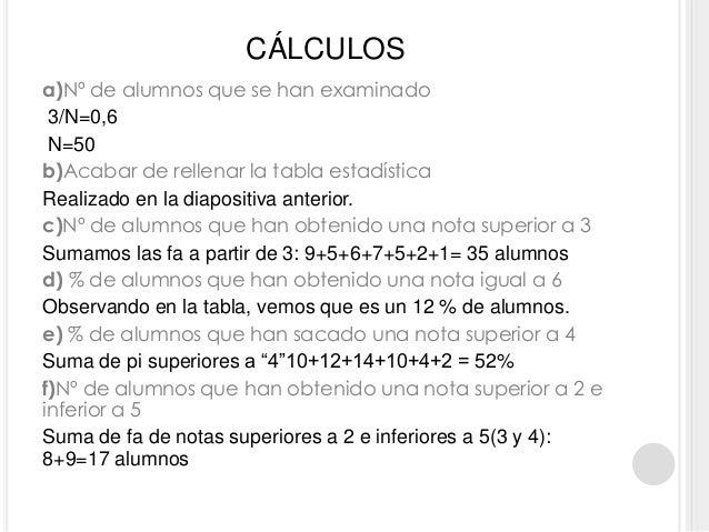 CÁLCULOS a)Nº de alumnos que se han examinado 3/N=0,6 N=50 b)Acabar de rellenar la tabla estadística Realizado en la diapo...