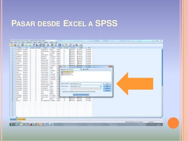 PASAR DESDE EXCEL A SPSS