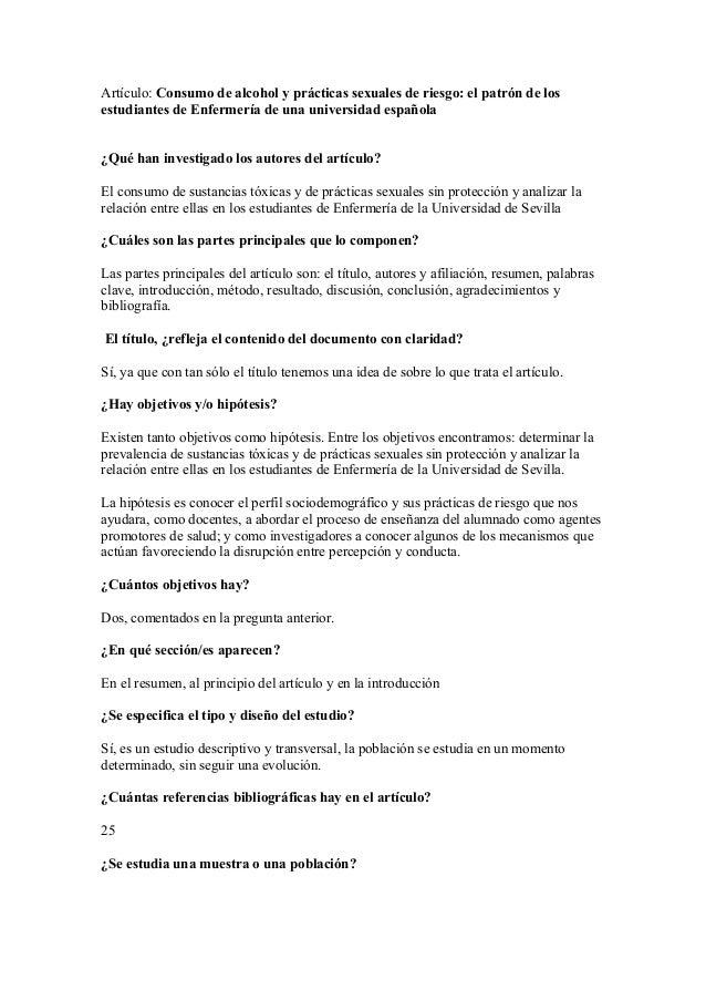 Artículo: Consumo de alcohol y prácticas sexuales de riesgo: el patrón de los estudiantes de Enfermería de una universidad...