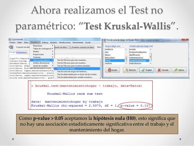 """Ahora realizamos el Test no paramétrico: """"Test Kruskal-Wallis"""". Como p-value > 0.05 aceptamos la hipótesis nula (H0), esto..."""