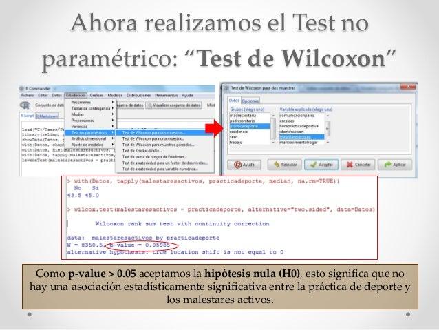 """Ahora realizamos el Test no paramétrico: """"Test de Wilcoxon"""" Como p-value > 0.05 aceptamos la hipótesis nula (H0), esto sig..."""