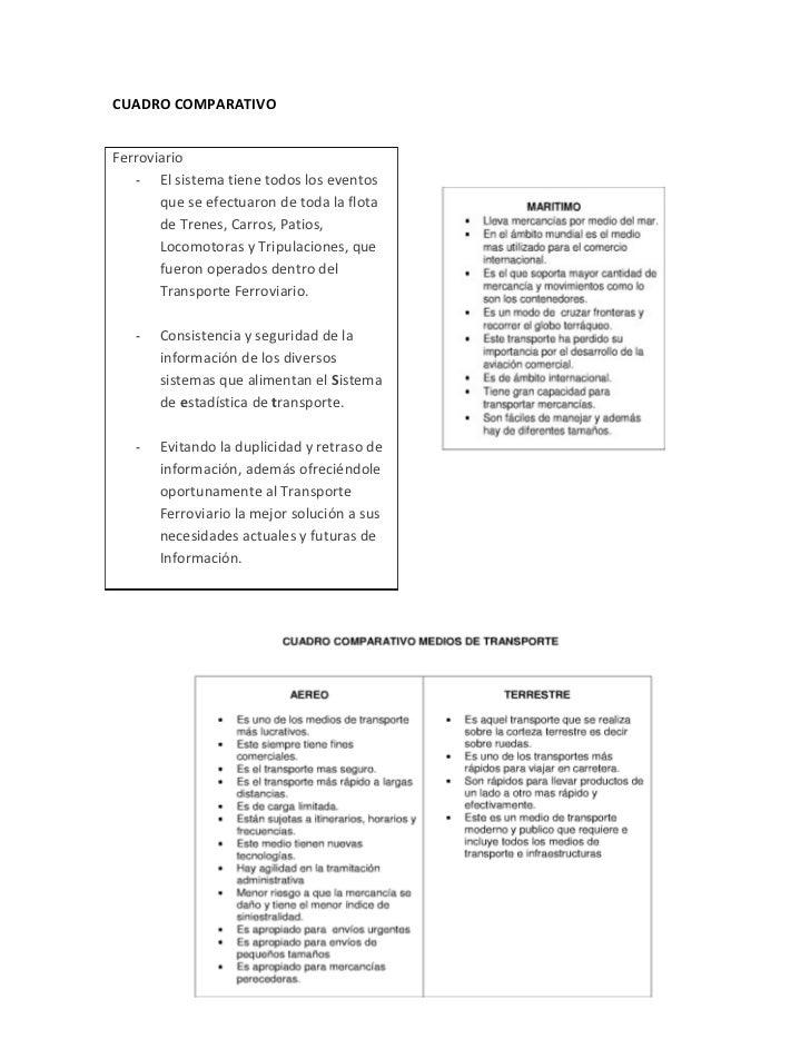 CUADRO COMPARATIVOFerroviario    - El sistema tiene todos los eventos       que se efectuaron de toda la flota       de Tr...