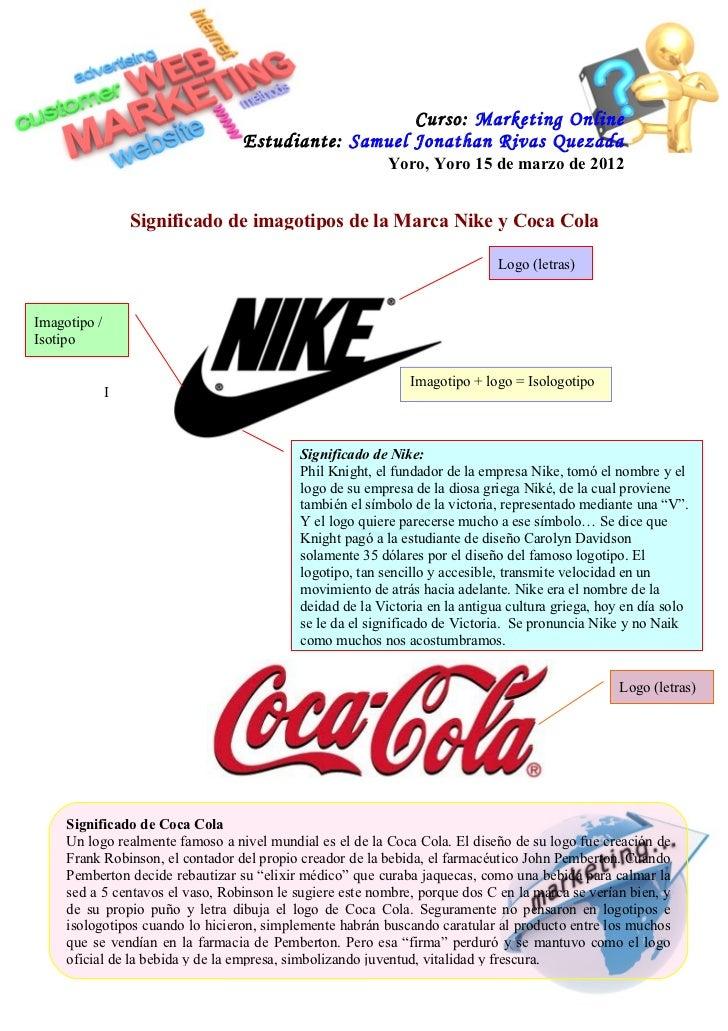reflujo Federal sobresalir  Tarea significado de marca nike y coca cola (corregido)