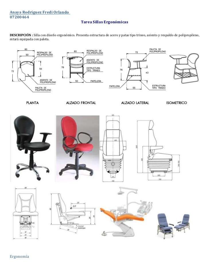 Tarea Sillas Ergonómicas<br />DESCRIPCIÓN : Silla con diseño ergonómico. Presenta estructura de acero y patas tipo trineo,...