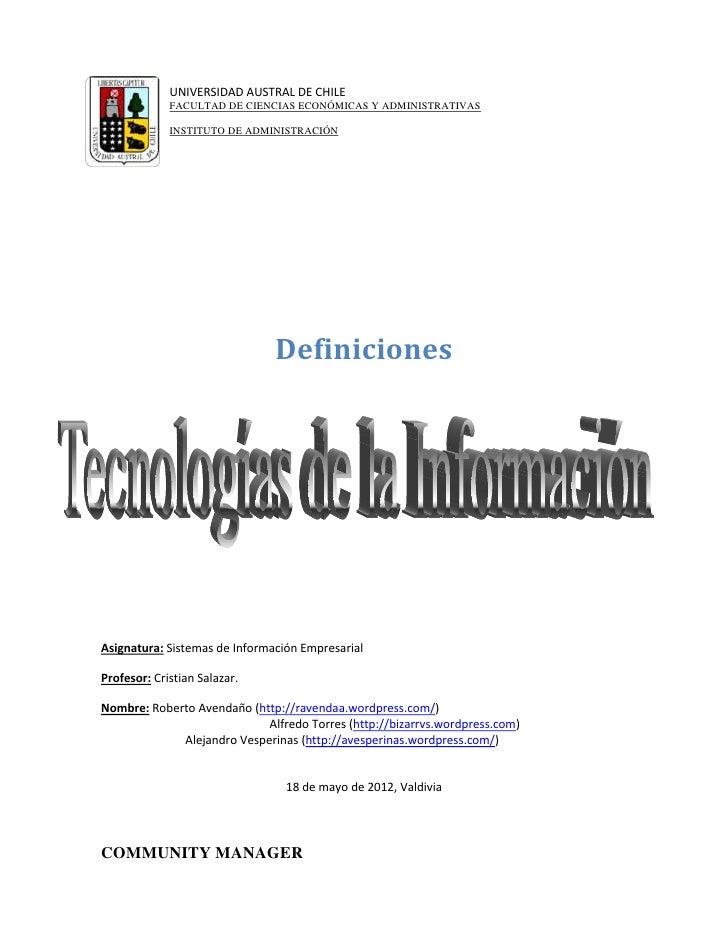 UNIVERSIDAD AUSTRAL DE CHILE             FACULTAD DE CIENCIAS ECONÓMICAS Y ADMINISTRATIVAS             INSTITUTO DE ADMINI...
