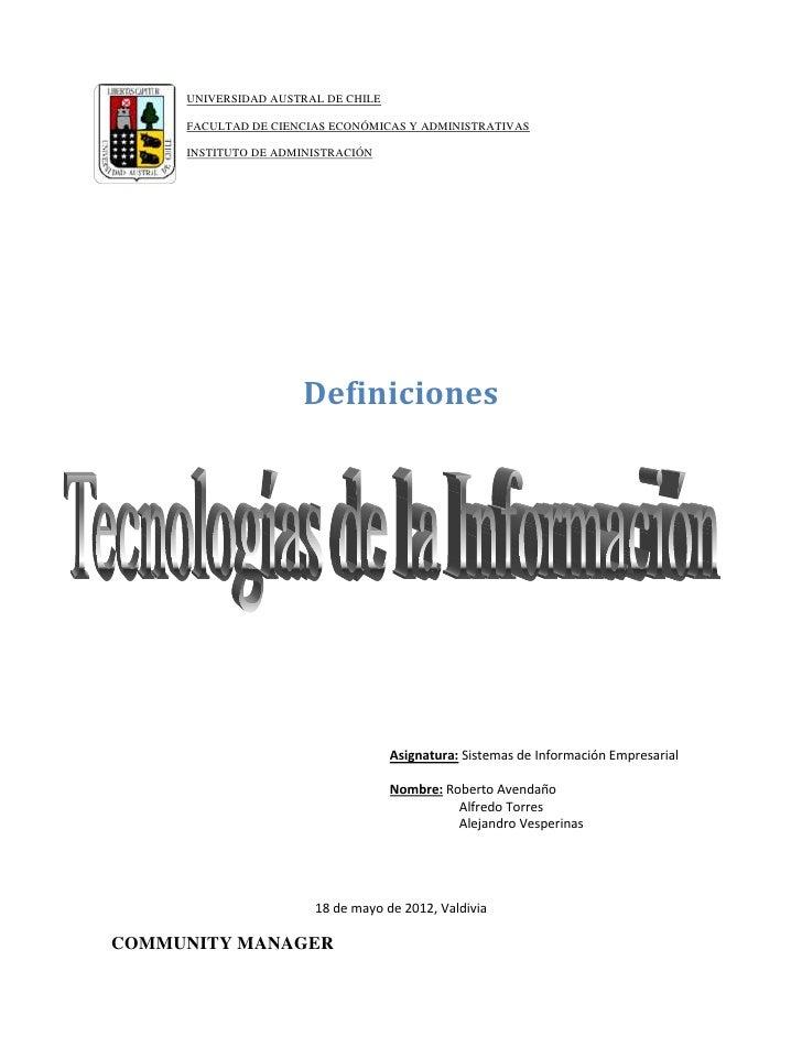 UNIVERSIDAD AUSTRAL DE CHILE     FACULTAD DE CIENCIAS ECONÓMICAS Y ADMINISTRATIVAS     INSTITUTO DE ADMINISTRACIÓN        ...