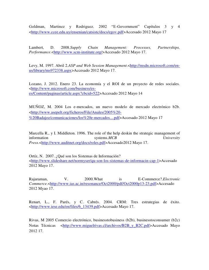 "Goldman, Martinez y Rodriguez. 2002 ""E-Government"" Capítulos 3                       y   4<http://www.ccee.edu.uy/ensenian..."