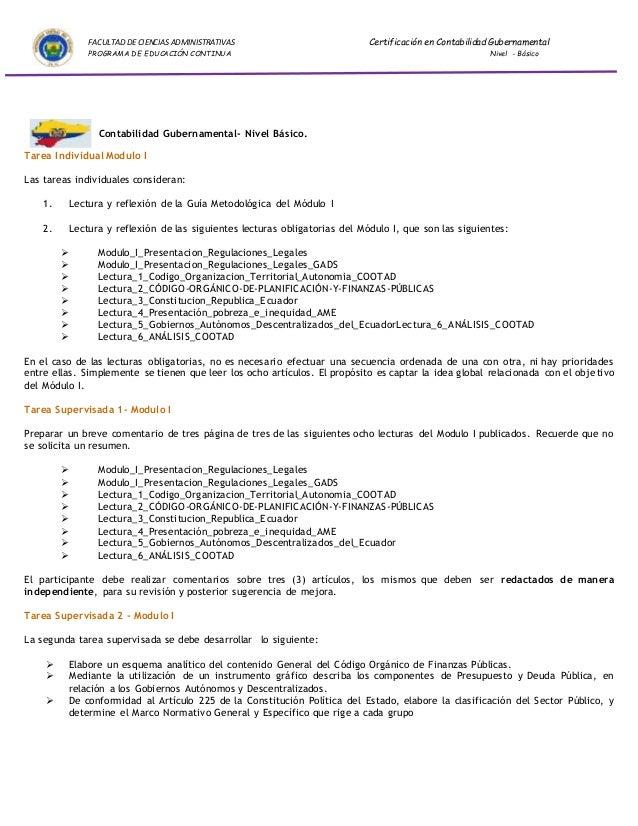 FACULTAD DE CIENCIAS ADMINISTRATIVAS Certificación en Contabilidad Gubernamental  PROGRAMA DE EDUCACIÓN CONTINUA Nivel - B...