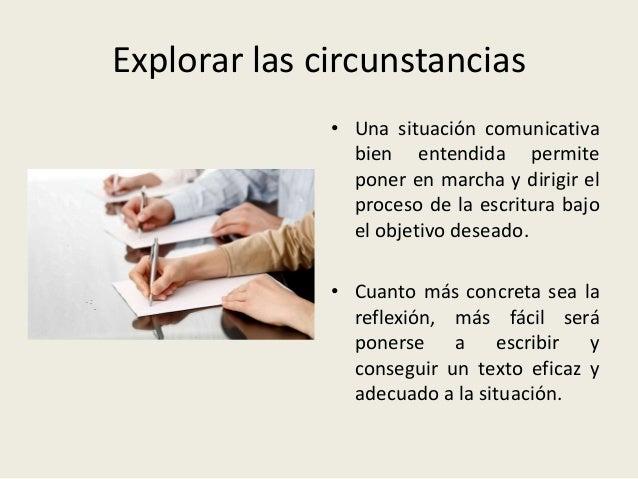 Explorar las circunstancias • Una situación comunicativa bien entendida permite poner en marcha y dirigir el proceso de la...