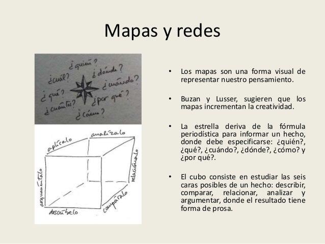 Mapas y redes • Los mapas son una forma visual de representar nuestro pensamiento. • Buzan y Lusser, sugieren que los mapa...