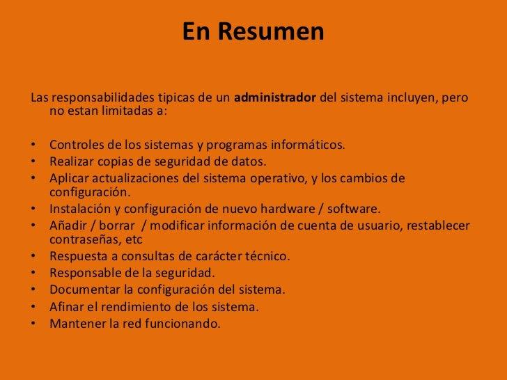 Tareas y responsabilidades del administrador del sistema