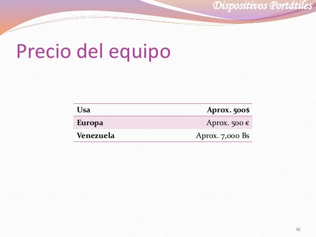 Dispositivos Portátiles Precio del equipo Usa Aprox. 500$ Europa Aprox. 500 € Venezuela Aprox. 7,000 Bs 12
