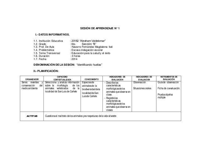 """SESIÓN DE APRENDIZAJE N° 1 I.- DATOS INFORMATIVOS. 1.1. Institución Educativa : 20182 """"Abraham Valdelomar"""" 1.2. Grado : 6t..."""