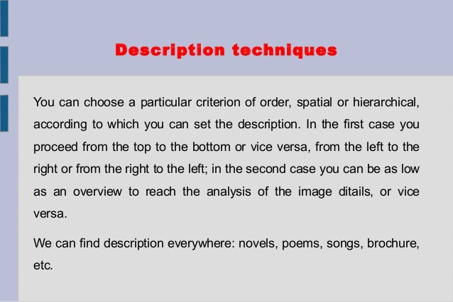 descriptive text structure examples