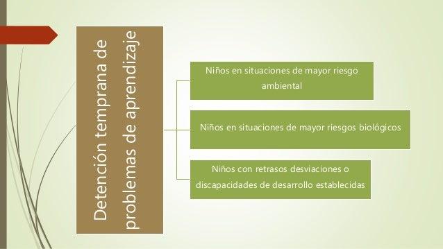 Detenci�ntempranade problemasdeaprendizaje Ni�os en situaciones de mayor riesgo ambiental Ni�os en situaciones de mayor ri...