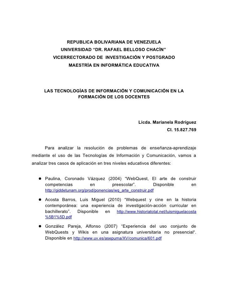 """REPUBLICA BOLIVARIANA DE VENEZUELA                UNIVERSIDAD """"DR. RAFAEL BELLOSO CHACÍN""""            VICERRECTORADO DE INV..."""