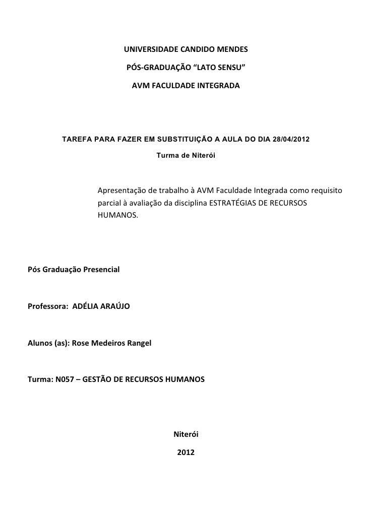 """UNIVERSIDADE CANDIDO MENDES                           PÓS-GRADUAÇÃO """"LATO SENSU""""                            AVM FACULDADE ..."""