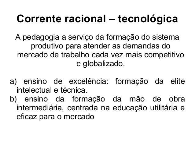 Corrente racional – tecnológica A pedagogia a serviço da formação do sistema produtivo para atender as demandas do mercado...