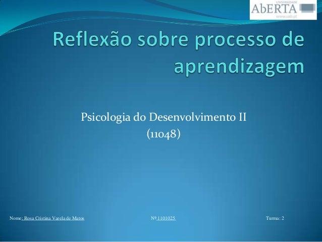 Psicologia do Desenvolvimento II (11048)  Nome: Rosa Cristina Varela de Matos  Nº 1101025  Turma: 2