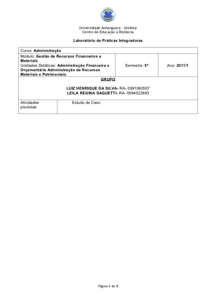 Universidade Anhanguera – Uniderp                             Centro de Educação a Distância                         Labor...