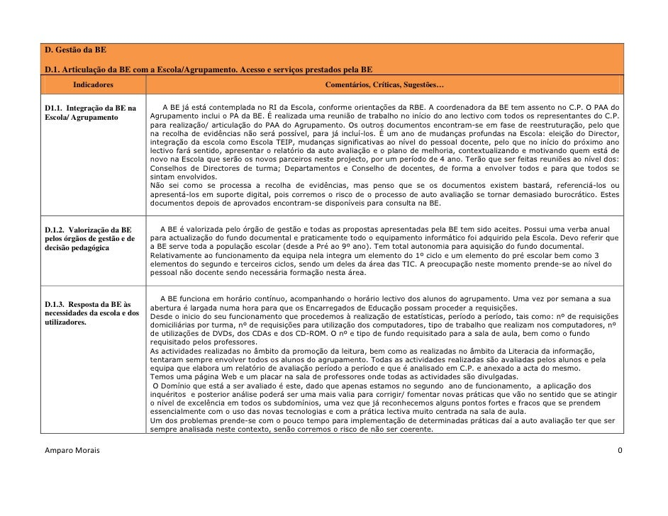 D. Gestão da BE  D.1. Articulação da BE com a Escola/Agrupamento. Acesso e serviços prestados pela BE         Indicadores ...