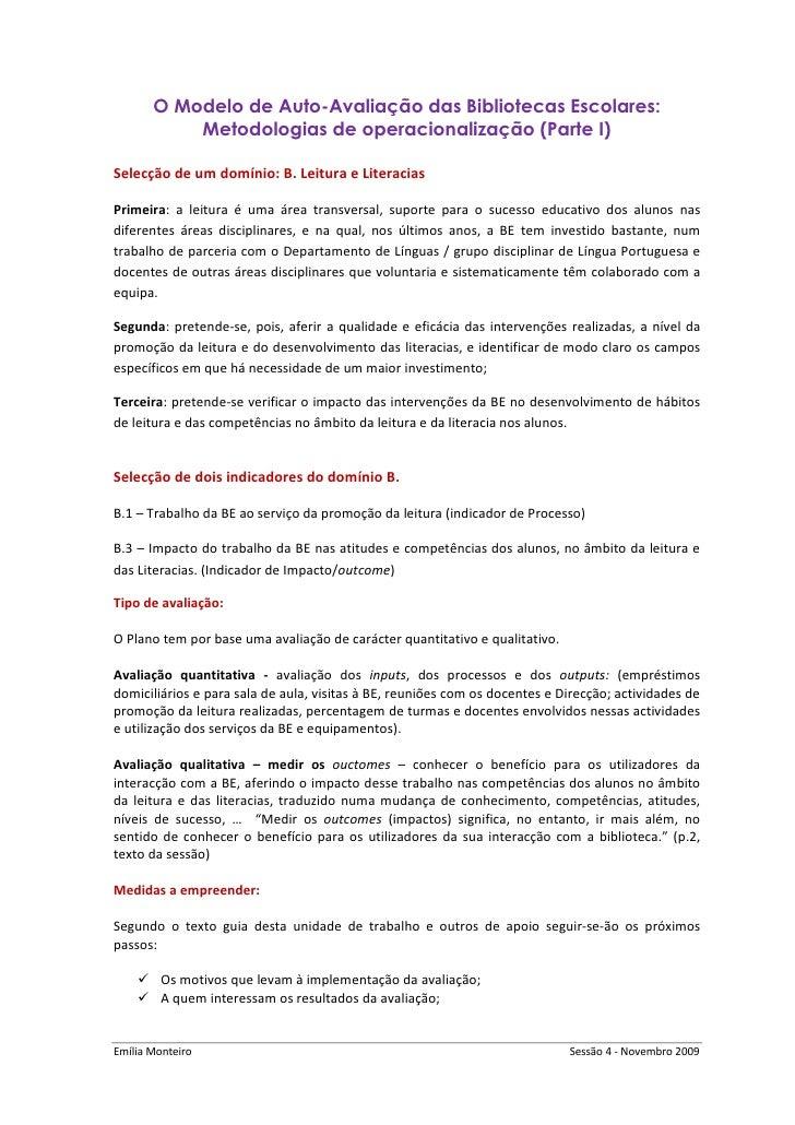O Modelo de Auto-Avaliação das Bibliotecas Escolares:            Metodologias de operacionalização (Parte I)  Selecção de ...