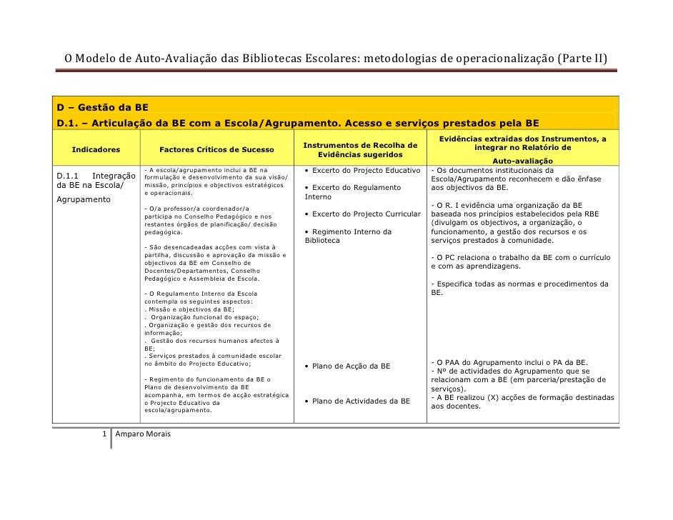 O Modelo de Auto-Avaliação das Bibliotecas Escolares: metodologias de operacionalização (Parte II)   D – Gestão da BE D.1....
