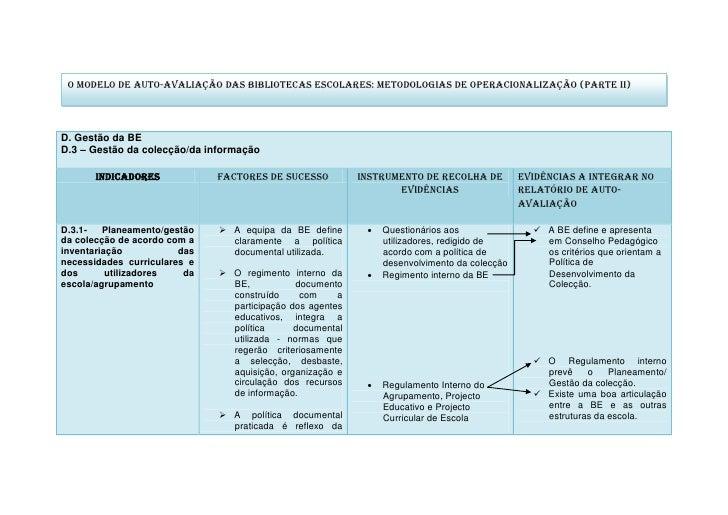 O Modelo de Auto-Avaliação das Bibliotecas Escolares: metodologias de operacionalização (Parte II)     D. Gestão da BE D.3...