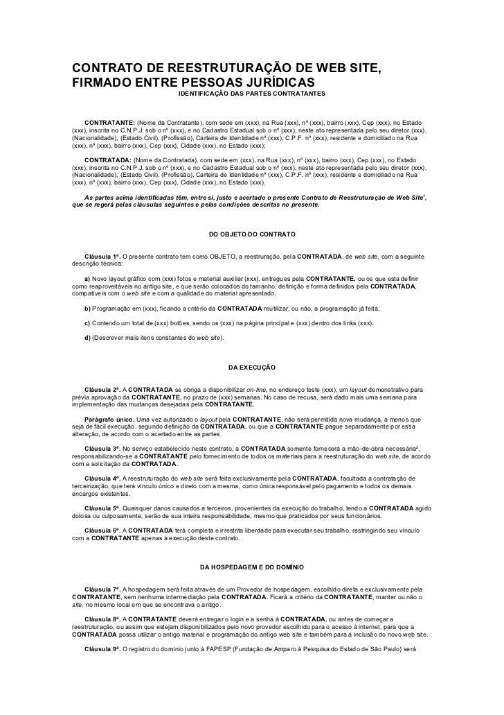 CONTRATO DE REESTRUTURAÇÃO DE WEB SITE,FIRMADO ENTRE PESSOAS JURÍDICAS                                      IDENTIFICAÇÃO ...