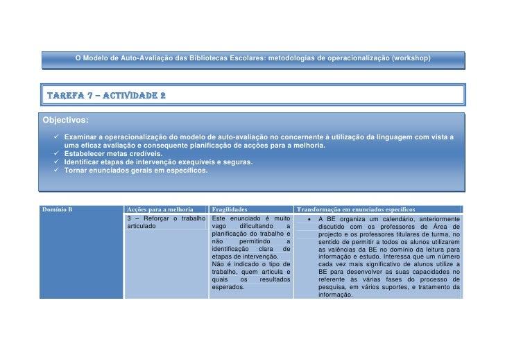 O Modelo de Auto-Avaliação das Bibliotecas Escolares: metodologias de operacionalização (workshop)      Tarefa 7 – Activid...
