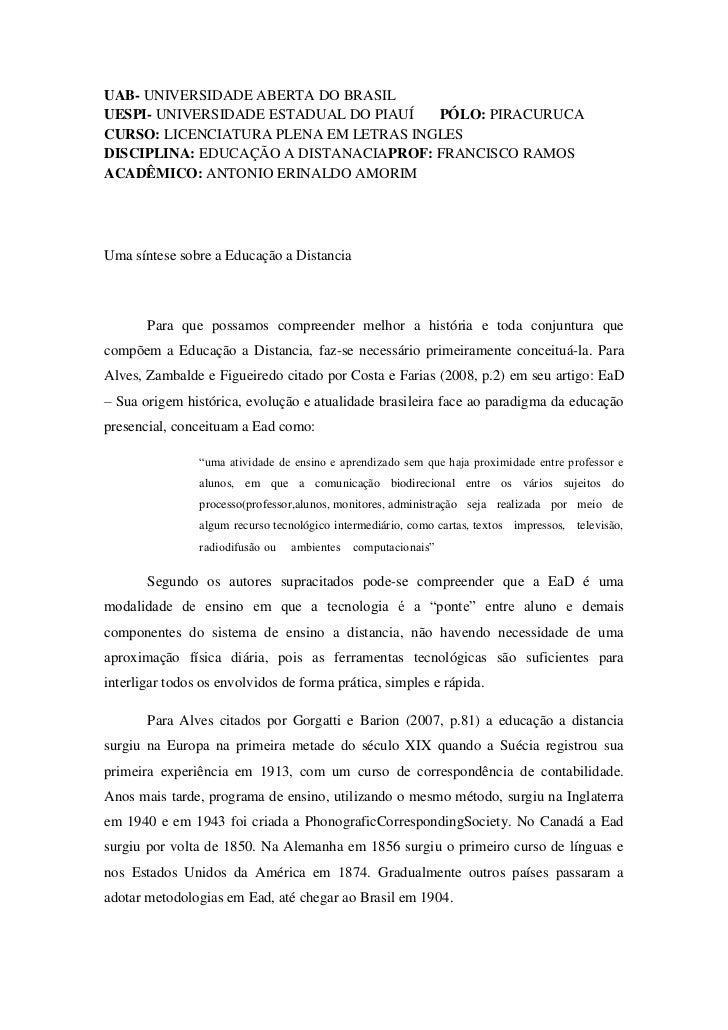 UAB- UNIVERSIDADE ABERTA DO BRASILUESPI- UNIVERSIDADE ESTADUAL DO PIAUÍ  PÓLO: PIRACURUCACURSO: LICENCIATURA PLENA EM LETR...