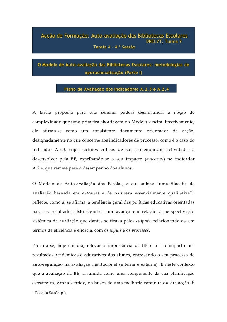 Acção de Formação: Auto-avaliação das Bibliotecas Escolares                                                              D...