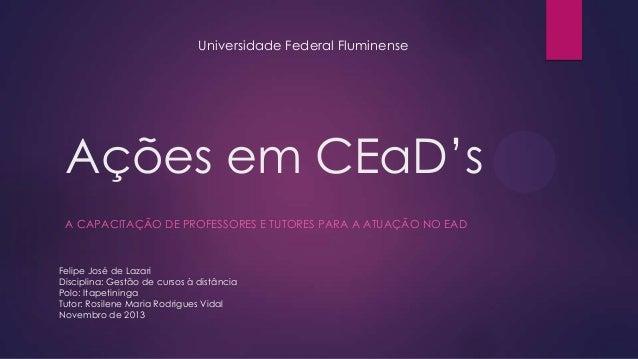 Universidade Federal Fluminense  Ações em CEaD's A CAPACITAÇÃO DE PROFESSORES E TUTORES PARA A ATUAÇÃO NO EAD  Felipe José...