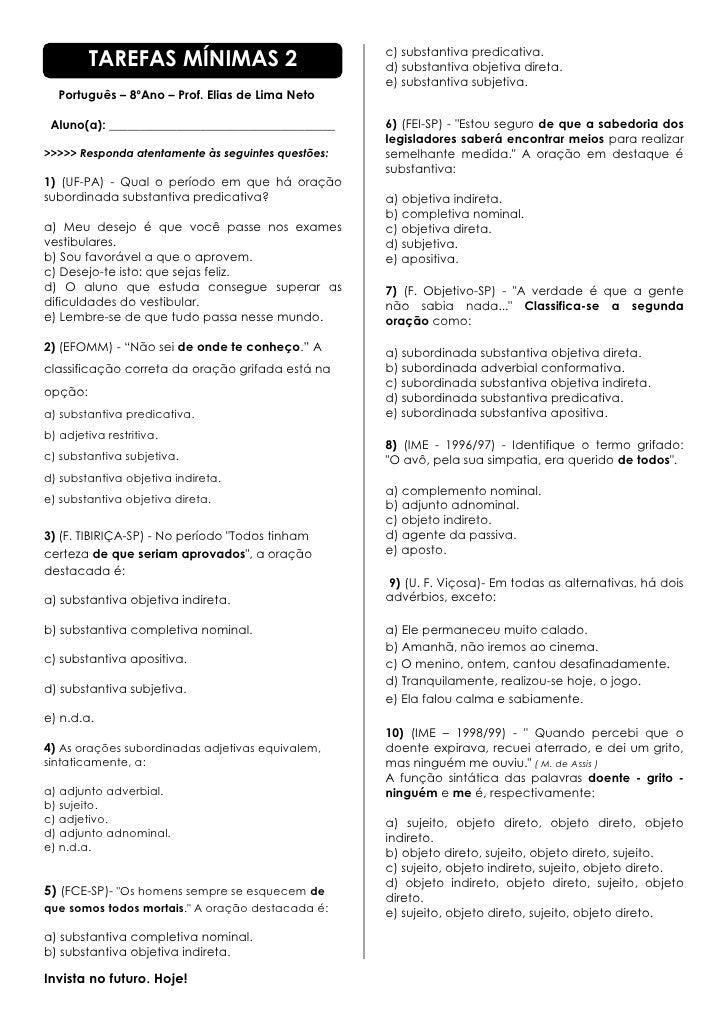 TAREFAS MÍNIMAS 2                          c) substantiva predicativa.                                                    ...