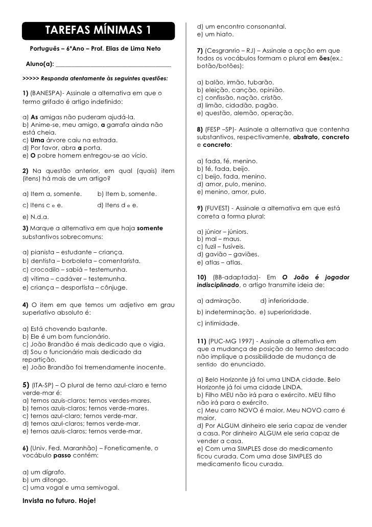 TAREFAS MÍNIMAS 1                            d) um encontro consonantal.                                                  ...