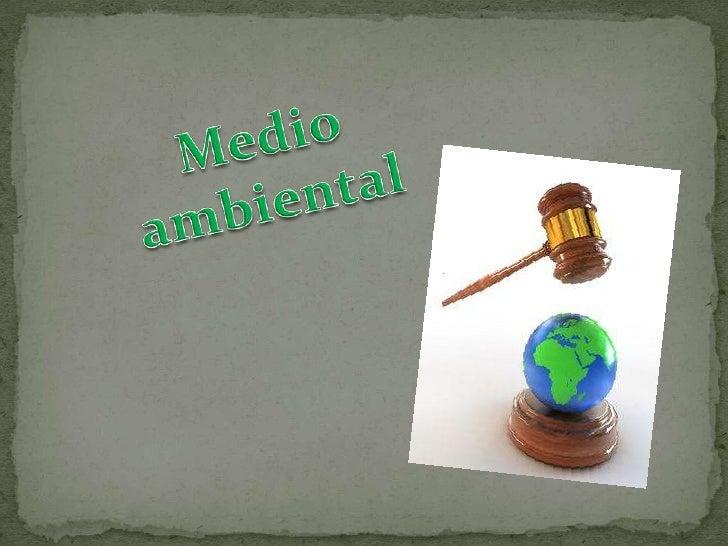 El medio ambiental o derecho ambientales     un     complejo    conjunto      detratados, convenios, estatutos, reglamento...