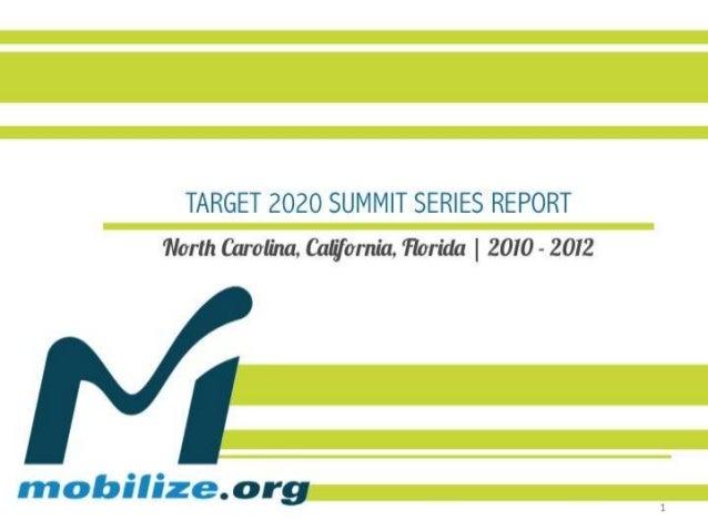 TARGET 2020 SUMMIT SERIESNorth Carolina, California, Florida | 2010 - 2012                 REPORT                         ...