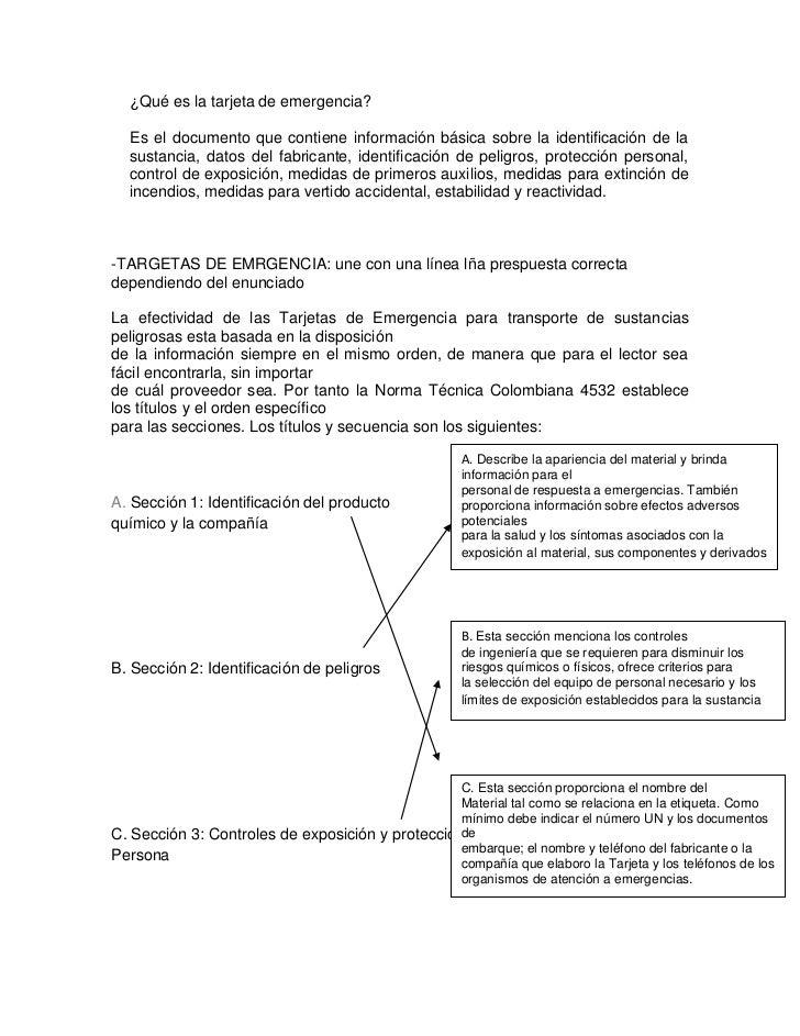 ¿Qué es la tarjeta de emergencia?<br />Es el documento que contiene información básica sobre la identificación de la susta...