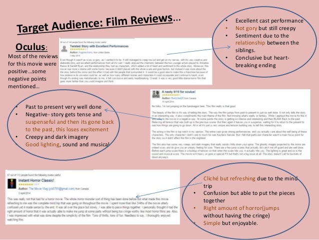 Oculus: Most of the reviews for this movie were positive…some negative points mentioned… • Excellent cast performance • No...
