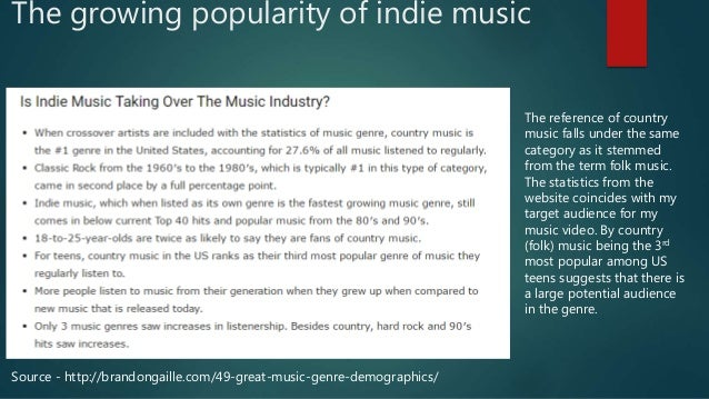 The growing popularity of indie music Source - http://brandongaille.com/49-great-music-genre-demographics/ The reference o...