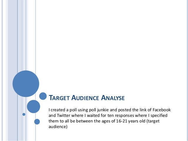TARGET AUDIENCE ANALYSEI created a poll using poll junkie and posted the link of Facebookand Twitter where I waited for te...