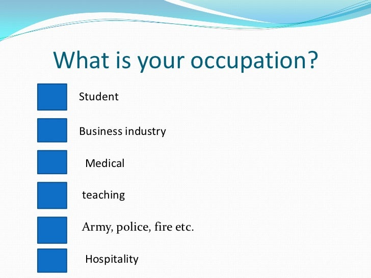 how to ask occupation in questionnaire