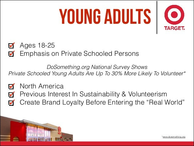 Young Adults *www.dosomething.org Ages 18-25 Emphasis on Private Schooled Persons North America Previous Interest In Susta...