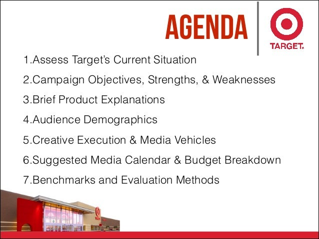 Agenda 1.Assess Target's Current Situation 2.Campaign Objectives, Strengths, & Weaknesses 3.Brief Product Explanations 4.A...
