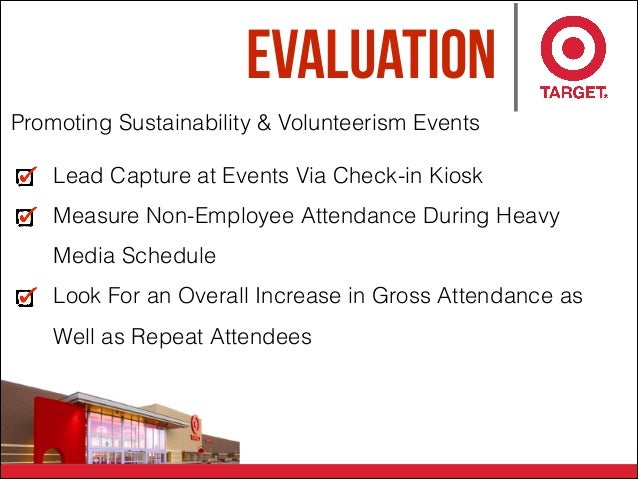 Evaluation Promoting Sustainability & Volunteerism Events Lead Capture at Events Via Check-in Kiosk Measure Non-Employee A...