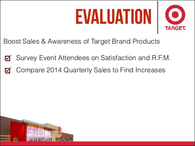 Evaluation Boost Sales & Awareness of Target Brand Products Survey Event Attendees on Satisfaction and R.F.M. Compare 2014...