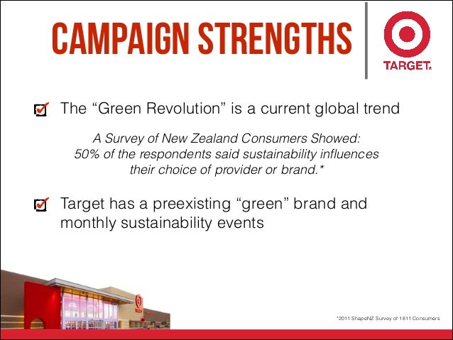 """Campaign Strengths The """"Green Revolution"""" is a current global trend Target has a preexisting """"green"""" brand and monthly sus..."""